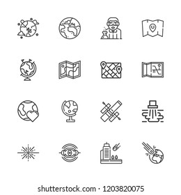 Collection of 16 outline icons include icons such as water pollution, scientist, map, planet earth, globe, asteroid, big bang, hubble space telescope, nebula, meteorite