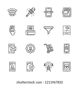 Collection of 16 phone outline icons include icons such as tablet, operator, minibar, filter, bill, qr code, antenna, smartphone, packs, mobile shopping, journalist, wifi
