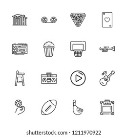 Collection of 16 play outline icons include icons such as billiard, casino chip, recording, guitar, play button, trumpet, tape player, music amplifier, american football