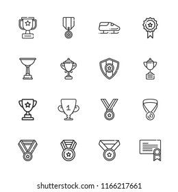 Collection of 16 prize outline icons include icons such as medal, trophy, bobsleigh
