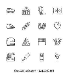 Collection of 16 recreation outline icons include icons such as pool, tennis court, american football, bobsleigh, cricket, golf, shoe, skateboard, snowboard, volleyball net