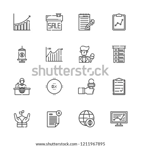 Collection Of 16 Report Outline Icons Include Such As Economy Growth Statistics