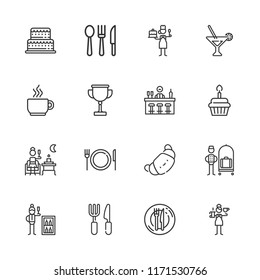 Collection of 16 restaurant outline icons include icons such as martini, bellhop, bar, minibar, cutlery, croissant, terrace, barista, pastry chef, cake, cupcake, dinner