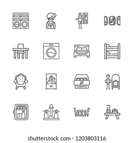 Collection of 16 room outline icons include icons such as bellhop, minibar, bed, cabinet, thermostat, librarian, table, armchair, bunk, sink, washing machine