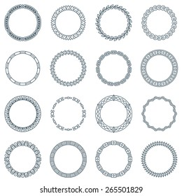 Collection of 16 Round Decorative Frames and Labels with Lines, Geometric Shapes and Nature Elements
