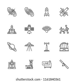 Collection of 16 satellite outline icons include icons such as rocket launch, wifi, live news, satellite, rocket, ufo, antenna, black hole, galaxy, hubble space telescope