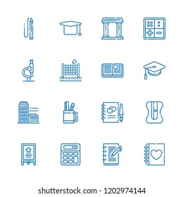 Collection of 16 school outline icons include icons such as calculator, easel, microscope, mortarboard, museum, open book, math, pencil case, guests book, pencil, building