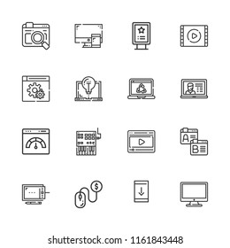 Collection of 16 screen outline icons include icons such as laptop, browser, pay per click, billboard, video, video player, browsers, downloading from smartphone, controller