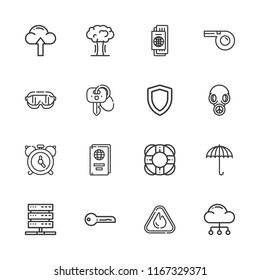 Collection of 16 security outline icons include icons such as umbrella, key, alarm, safety glasses, warning, cloud computing, explosion, gas mask, shield, passport, whistle