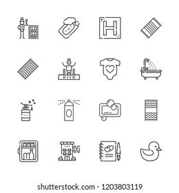 Collection of 16 shower outline icons include icons such as minibar, soap, duck, baby clothes, hotel, pool, guests book, bathtub, spray