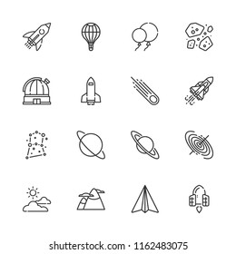 Collection of 16 sky outline icons include icons such as paper airplane, mountain, spaceship, balloon, rocket, balloons, cloudy, asteroid, asteroids, black hole, constellation