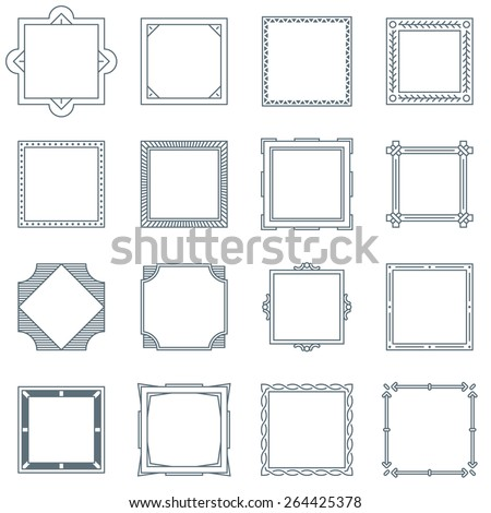collection 16 square decorative frames labels stock vector royalty