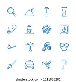 Collection of 16 steel outline icons include icons such as crane, hammer, safety box, handcuffs, foil, taxi, pan, knife, spoon, jigger, settings, silo, scissors, dinner