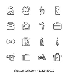 Collection of 16 suit outline icons include icons such as ace, clothes, butler, waitress, briefcase, woman, motorcycle, tie, dive, bow tie