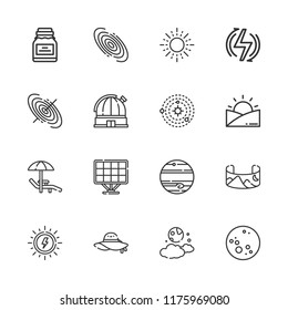 Collection of 16 sun outline icons include icons such as renewable energy, landscape, solar energy, field of view, black hole, galaxy, jupiter, moon, observatory, solar system