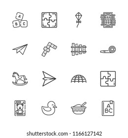 Collection of 16 toy outline icons include icons such as dominoes, foosball, abc, kite, playground, puzzle, paper plane, party blower, rocking horse, baby food, duck