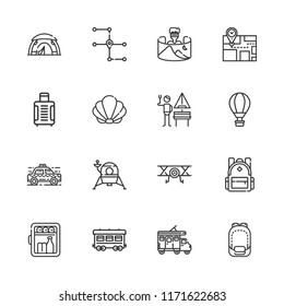 Collection of 16 travel outline icons include icons such as minibar, hot air balloon, aeroplane, railway, field of view, backpack, seashell, lander, map, tent, suitcase