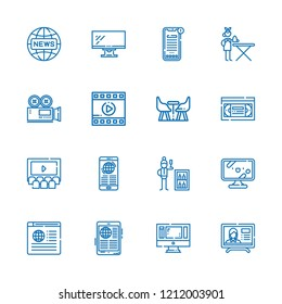 Collection of 16 tv outline icons include icons such as tv, minibar, ironing service, news, monitor, cinema, film, furniture, video camera, vhs