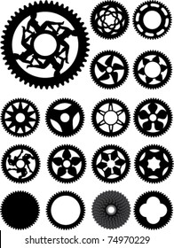 Collection of 17 different bike cogs shapes.