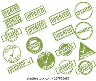 """Collection of 17 green grunge rubber stamps with text """"UPDATED"""" . Vector illustration"""