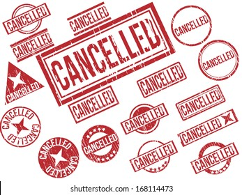 "Collection of 17 red grunge rubber stamps with text ""CANCELLED"" . Vector illustration"