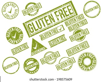"""Collection of 18 green grunge rubber stamps with text """"GLUTEN FREE"""" . Vector illustration"""