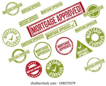 """Collection of 18 red and green grunge rubber stamps with text """"MORTGAGE APPROVED"""" . Vector illustration"""