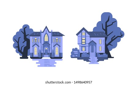 Collection of 2 gothic style haunted cottages. Halloween houses or creepy mansions and trees on background. Flat vector illustration
