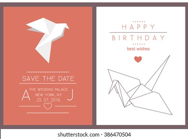 Collection of 2 modern card templates with origami crane and dove. Save the date and birthday cards. Stylish simple design. Vector illustration. Poster template.