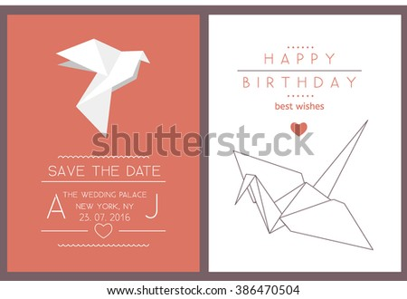 collection 2 modern card templates origami stock vector royalty