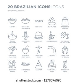 Collection of 20 Brazilian icons linear such as Fabada, Ensalada Malague?a, Calumet, Cantonese Fish line icons with thin line stroke, vector illustration of trendy icon set.