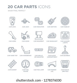 Collection of 20 Car parts linear icons such as car lock, jack, fog lamp, fuel gauge, gasket, hubcap line icons with thin line stroke, vector illustration of trendy icon set.