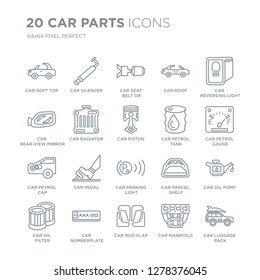 Collection of 20 Car parts linear icons such as car soft top, silencer, mud flap, numberplate, oil filter line icons with thin line stroke, vector illustration of trendy icon set.