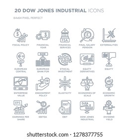 Collection of 20 DOW JONES INDUSTRIAL linear icons such as Fiscal policy, Financial year, Ebit, Ebitda line icons with thin line stroke, vector illustration of trendy icon set.