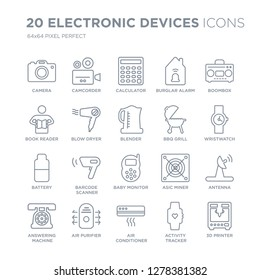 Collection of 20 Electronic devices linear icons such as Camera, Camcorder, Air conditioner, purifier, answering machine line icons with thin line stroke, vector illustration of trendy icon set.