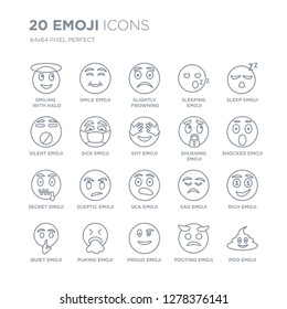 Collection of 20 Emoji linear icons such as Smiling  With Halo emoji, Smile Proud Puking Quiet emoji line icons with thin line stroke, vector illustration of trendy icon set.