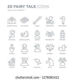 Collection of 20 Fairy Tale linear icons such as Stained glass, Spellbook, Narwhal, ogre, Palace, Seahorses, protagonist,  line icons with thin line stroke, vector illustration of trendy icon set.