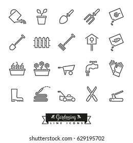 Collection of 20 gardening vector line icons