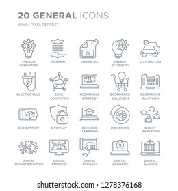 Collection of 20 general linear icons such as fintech innovation, filament, digital product, strategy line icons with thin line stroke, vector illustration of trendy icon set.