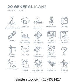 Collection of 20 general linear icons such as collaborative idea, cloud service, bioengineering, biomass energy, biotechnology line icons with thin line stroke, vector illustration of trendy icon set.