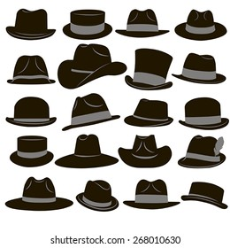 Collection of 20 icons of black man's retro hat with gray ribbons on a white background