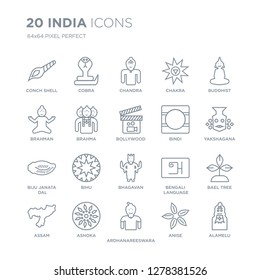 Collection of 20 india linear icons such as Conch shell, Cobra, Ardhanareeswara, Ashoka, assam, buddhist, Bindi, bhagavan line icons with thin line stroke, vector illustration of trendy icon set.