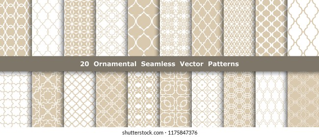Collection of 20 ornament seamless vector patterns. Set of abstract decorative arabic vector backgrounds