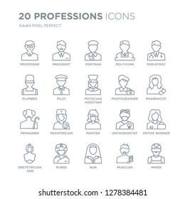 Collection of 20 Professions linear icons such as Professor, President, Nun, Nurse, Obstetrician and Gynecologist, Podiatrist line icons with thin line stroke, vector illustration of trendy icon set.