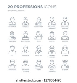 Collection of 20 Professions linear icons such as Fisherman, Fireman, Clerk, Computer Systems Analyst, Concierge line icons with thin line stroke, vector illustration of trendy icon set.