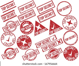 "Collection of 21 red grunge rubber stamps with text ""TOP SECRET"" . Vector illustration"
