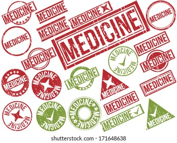"Collection of 22 red and green grunge rubber stamps with text ""MEDICINE"" . Vector illustration"