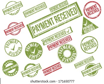 """Collection of 22 red and green grunge rubber stamps with text """"PAYMENT RECEIVED"""" . Vector illustration"""
