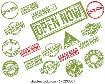 """Collection of 22 red and green grunge rubber stamps with text """"OPEN NOW"""" . Vector illustration"""