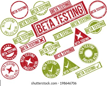 """Collection of 22 red and green grunge rubber stamps with text """"BETA TESTING"""" . Vector illustration"""